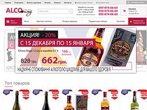 Верстка сайта для магазина Alcomag